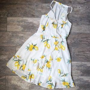 82e13d067c4 Dresses - Chiffon Lemon Print Ruffle Sundress Dress